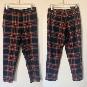 Topshop red plaid cropped pants